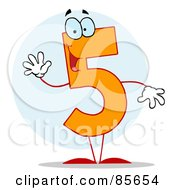 Royalty Free RF Clipart Illustration Of A Friendly Number 5 Five Guy