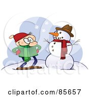 Royalty Free RF Clipart Illustration Of A Toon Guy Standing Proudly By His Completed Snowman by gnurf