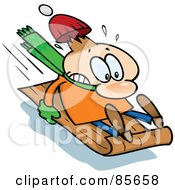 Royalty Free RF Clipart Illustration Of A Toon Guy Holding On Tight To A Toboggan While Sledding Downhill