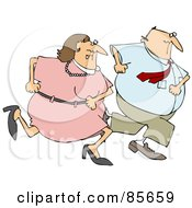 Royalty Free RF Clipart Illustration Of A Man And Woman On The Run Together