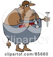 Royalty Free RF Clipart Illustration Of A Carpenter Cow Holding A Hammer And Nail