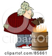 Royalty Free RF Clipart Illustration Of A Homeless Man Warming His Hands Over A Trash Can Fire