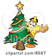 Star Mascot Cartoon Character Waving And Standing By A Decorated Christmas Tree