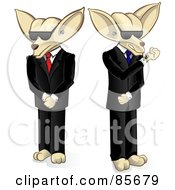 Two Security Chihuahua Guard Dogs In Suits