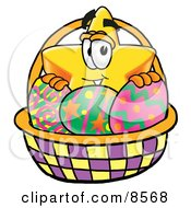 Star Mascot Cartoon Character In An Easter Basket Full Of Decorated Easter Eggs