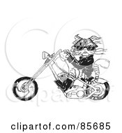Royalty Free RF Clipart Illustration Of A Biker Cat Riding A Chopper
