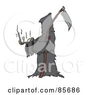 Royalty Free RF Clipart Illustration Of The Grim Reaper Holding And Using A Laptop