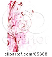 Royalty Free RF Clipart Illustration Of A Red And Pink Floral Grunge Vine And Butterfly Background Over White by KJ Pargeter
