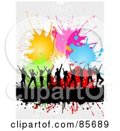 Royalty Free RF Clipart Illustration Of A Dancing Black Silhouetted People Over A Text Bar With Halftone And Colorful Splatters