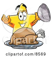 Clipart Picture Of A Star Mascot Cartoon Character Serving A Thanksgiving Turkey On A Platter by Toons4Biz