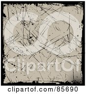 Royalty Free RF Clipart Illustration Of A Grungy Tan Background With Scratches And Black Borders
