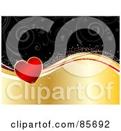 Royalty Free RF Clipart Illustration Of A Red Floral Heart On Sparkly Waves Over A Gold And Black Background