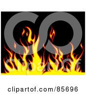 Royalty Free RF Clipart Illustration Of A Background Of Yellow And Red Flames Over Black