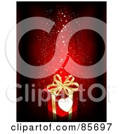 Royalty Free RF Clipart Illustration Of A Blank Heart Tag On A Red And Gold Gift Box With Sparkly Hearts On Red by KJ Pargeter