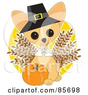 Royalty Free RF Clipart Illustration Of An Adorable Thanksgiving Chihuahua Puppy by Maria Bell