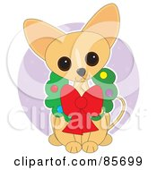 Royalty Free RF Clipart Illustration Of An Adorable Christmas Wreath Chihuahua Puppy by Maria Bell