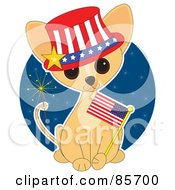 Royalty Free RF Clipart Illustration Of An Adorable Independence Day Chihuahua Puppy