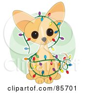 Royalty Free RF Clipart Illustration Of An Adorable Christmas Chihuahua Puppy by Maria Bell