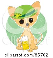 Royalty Free RF Clipart Illustration Of An Adorable St Patricks Day Chihuahua Puppy by Maria Bell