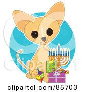 Royalty Free RF Clipart Illustration Of An Adorable Hanukkah Chihuahua Puppy by Maria Bell