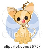 Royalty Free RF Clipart Illustration Of An Adorable Christmas Rudolph Chihuahua Puppy by Maria Bell