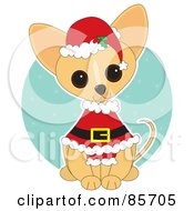 Royalty Free RF Clipart Illustration Of An Adorable Santa Chihuahua Puppy by Maria Bell