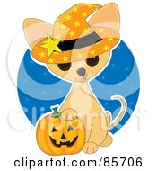 Royalty Free RF Clipart Illustration Of An Adorable Halloween Chihuahua Puppy by Maria Bell