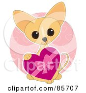 Royalty Free RF Clipart Illustration Of An Adorable Valentines Day Chihuahua Puppy by Maria Bell