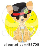 Royalty Free RF Clipart Illustration Of An Adorable New Year Chihuahua Puppy by Maria Bell