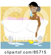 Royalty Free RF Clipart Illustration Of A Relaxed Black Woman Taking A Luxurious Bubble Bath In A Claw Foot Tub by Rosie Piter