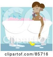 Relaxed Hispanic Woman Taking A Luxurious Bubble Bath In A Claw Foot Tub