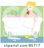 Relaxed Caucasian Woman Taking A Luxurious Bubble Bath In A Claw Foot Tub