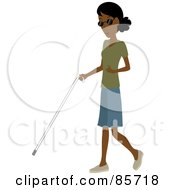 Blind Black Woman Walking With A White Cane