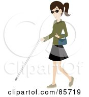 Brunette Caucasian Blind Woman Walking With A White Cane