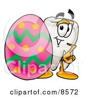 Tooth Mascot Cartoon Character Standing Beside An Easter Egg