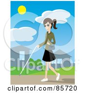 Royalty Free RF Clipart Illustration Of A Blind Caucasian Woman Walking Through A Neighborhood With A White Cane by Rosie Piter