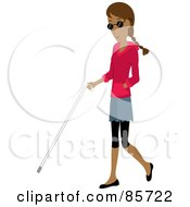 Blind Hispanic Woman Walking With A White Cane