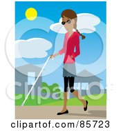 Royalty Free RF Clipart Illustration Of A Blind Hispanic Woman Walking Through A Neighborhood With A White Cane