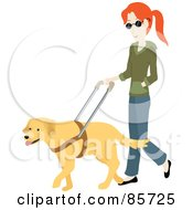 Blind Caucasian Woman Walking With A Yellow Labrador Guide Dog