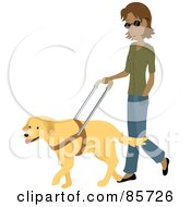 Blind Hispanic Woman Walking With A Yellow Labrador Guide Dog
