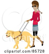 Royalty Free RF Clipart Illustration Of A Blind Indian Woman Walking With A Yellow Labrador Guide Dog