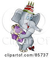 Royalty Free RF Clipart Illustration Of A Gray Birthday Elephant Wearing A Cake On His Head And Carrying A Gift by dero