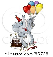 Royalty Free RF Clipart Illustration Of A Gray Birthday Elephant With Balloons A Hat And Cake At A Party by dero