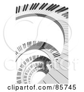 Royalty Free RF Clipart Illustration Of A Spiral Of 3d Piano Keys Over White by Mopic