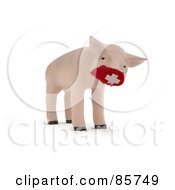 3d Piglet Wearing A Red Medical Mask Over His Snout
