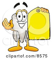 Tooth Mascot Cartoon Character Holding A Yellow Sales Price Tag