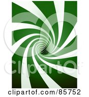 Royalty Free RF Clipart Illustration Of A 3d White And Green Spiraling Tunnel