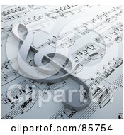 Royalty Free RF Clipart Illustration Of A 3d Clef Symbol Resting On Claude Debussy Danse Sheet Music by Mopic