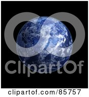 Royalty Free RF Clipart Illustration Of A 3d Blue Globe Of Eurasia At Night With Clouds by Mopic