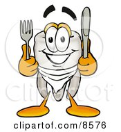 Clipart Picture Of A Tooth Mascot Cartoon Character Holding A Knife And Fork